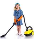 Little cleaning girl Royalty Free Stock Photography