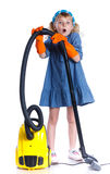 Little cleaning girl Royalty Free Stock Image