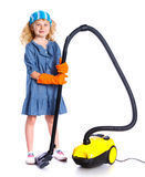 Little cleaning girl Royalty Free Stock Images