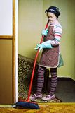 Little cleaning lady Stock Images