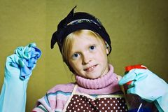 Little cleaning lady Royalty Free Stock Image