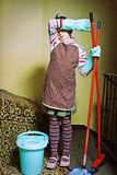 Little cleaning lady Stock Image