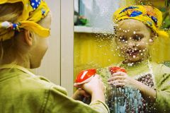 Little cleaning lady stock photos