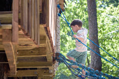 Little climber takes the rope bridge. Boy has fun time, kid climbing on sunny warm summer day Royalty Free Stock Images