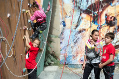 Little climbers warming up before competitions Stock Images