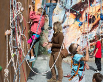 Little climbers warming up before competitions Royalty Free Stock Photo