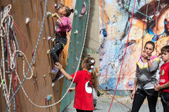 Little climbers warming up before competitions Royalty Free Stock Photography
