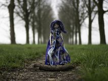 Rag doll girl with blue hair standing on a dirt road stock image