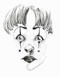 Little Clown. Illustration of a little clown, pencil Royalty Free Stock Images