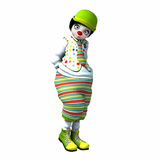 Little clown girl 4. Little clown girl with big eyes with green hat and striped pants Royalty Free Stock Images