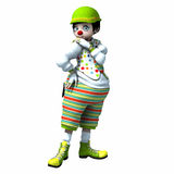 Little clown girl 2. Little clown girl with big eyes with green hat and striped pants Royalty Free Stock Images
