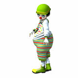 Little clown girl 5. Little clown girl with big eyes with green hat and striped pants Stock Photos