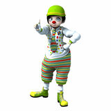 Little clown girl 1. Little clown girl with big eyes with green hat and striped pants Stock Image