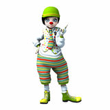 Little clown girl 3. Little clown girl with big eyes with green hat and striped pants Stock Photo