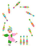 Little clown juggling with clubs Royalty Free Stock Images