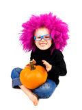Little clown with pumpkin Royalty Free Stock Photo