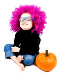Little clown with pumpkin Royalty Free Stock Images