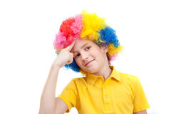 Little clown thinking Stock Photography