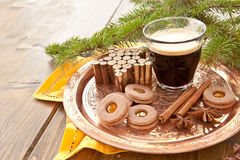 Little coffee and christmas cookies Stock Photo