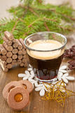 Little coffee and christmas cookies Stock Photography
