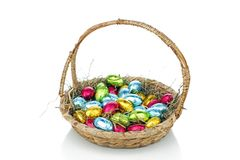 Little colored eggs in a basket Royalty Free Stock Photos