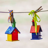 Little colorful bird houses Royalty Free Stock Images