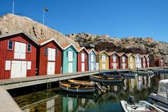 Little colorful boat houses at Smögen at westcoast sweden stock photography