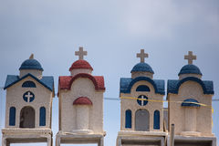Little colorful orthodox temples in Crete Stock Images