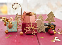 Little colorful presents. With ribbons and christmas decorations Royalty Free Stock Photos