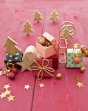 Little colorful presents. With ribbons and christmas decorations Stock Photography