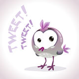 Little comic tweetting bird. Little cute cartoon comic tweetting bird. Vector illustration stock illustration