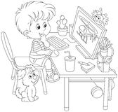 Little computer gamer. Black and white vector illustration of a boy sitting at his table in front of a computer monitor Stock Photography