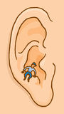Little conscience voice speaking to ear. Cartoon illustration of small conscience voice speaking to ear stock illustration