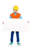 Little construction worker with placard Stock Image