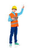 Little construction worker pointing up Royalty Free Stock Images