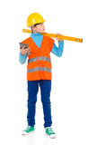 Little construction worker with a spirit level Royalty Free Stock Image