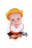 Little Construction Worker on White Background Royalty Free Stock Photo