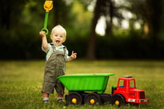 Little constructor with shovel Stock Photography