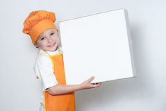 Little cook with a box for pizza Stock Photography