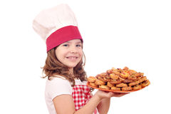 Little cook with bruschette Stock Photos