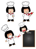 Little cook. Cook cartoon kitchen chef fun stock illustration