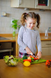 Little cook cooks salad. On a table various vegetables. Royalty Free Stock Image