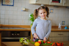Little cook cooks salad. On a table various vegetables. Stock Image