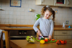 Little cook cooks salad. On a table various vegetables. Stock Photography