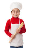 Little cook with ladle. Smiling little cook with ladle, isolated on white Stock Photos