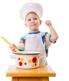 Little cook with ladle and pan Stock Photography
