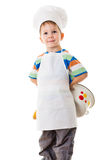 Little cook with pan behind Stock Photography