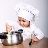 Little Cook With A Pan Royalty Free Stock Image