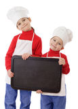 Little cookers with empty horizontal chalkboard stock image