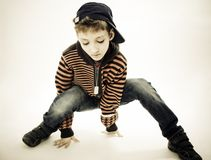 Little cool hip-hop boy in dance. Royalty Free Stock Photos
